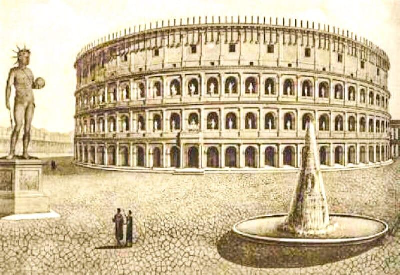 Postal dónde se ve la estatua del Coloso de Nerón al lado del Coliseo
