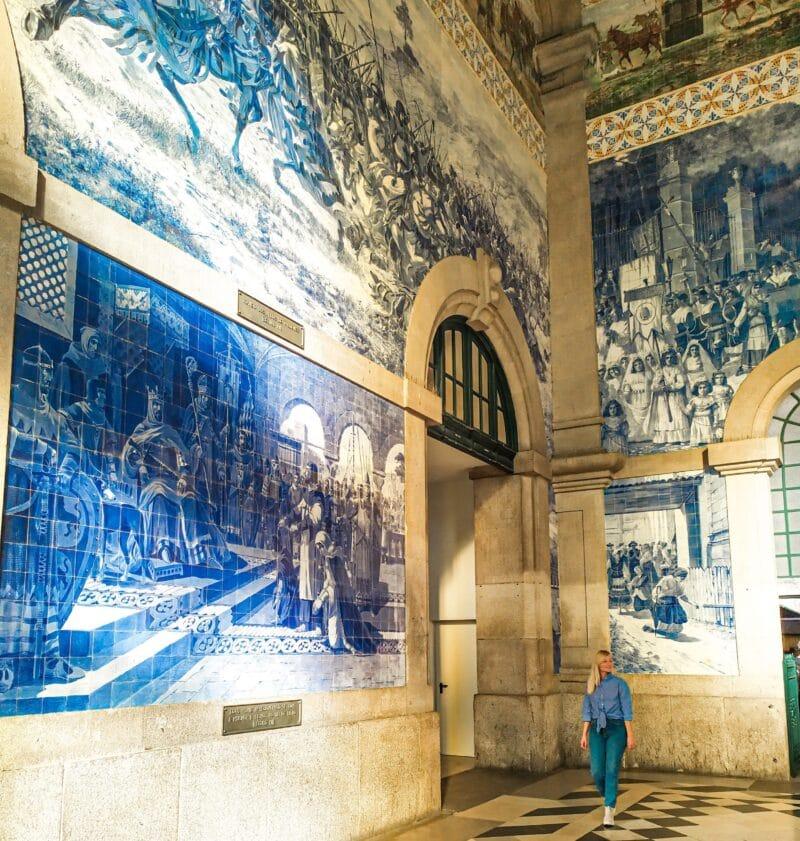 Qué ver en Oporto en 3 días: estación de tren San Bento