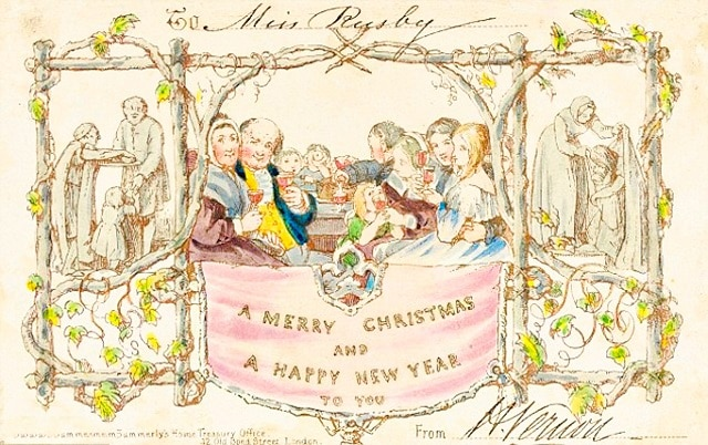 Primera postal de navidad publicada en Londres en el año 1843