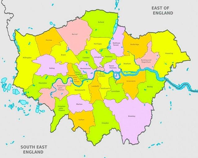 mapa de los barrios de Londres
