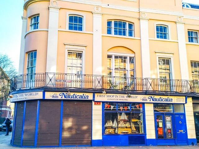 Fachada de la tienda Nauticalia en Greenwich