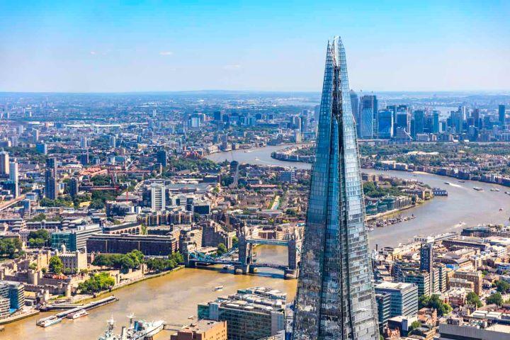 Vista aérea y panorámica de Londres