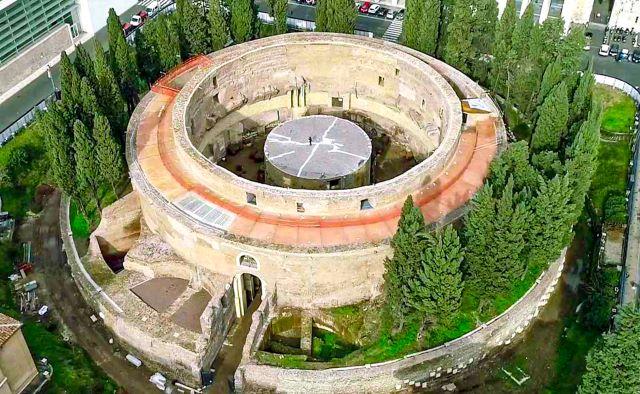 Vista aérea del mausoleo de Augusto