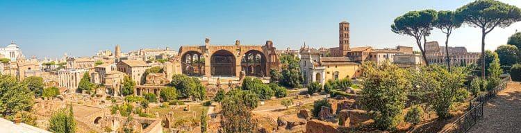 Vista panorámica de Roma desde la colina del Palatino