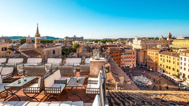Vista panorámica de la Piazza Navonna desde la terraza Borromini