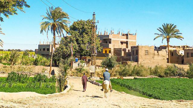 escena rural de un pueblo de Egipto