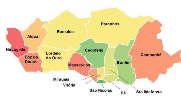 Mapa con los diferentes barrios de Oporto
