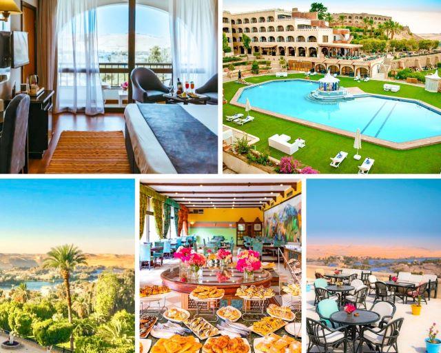 Diferentes áreas del Hotel Basma, nuestra elección para dormir en Aswan Egipto