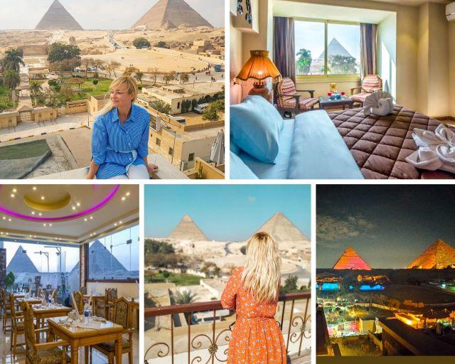 Varias imágenes de los hoteles con vista a las pirámides donde nos alojamos en Giza