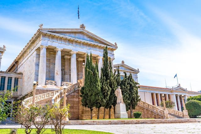 Entrada de la Biblioteca Nacional de Atenas